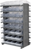 Akro-Mils 1800 lb Clear Gray Powder Coated Steel 16 ga Double Sided Fixed Rack - 36 3/4 in Overall Length - 64 Bins - Bins Included - APRD182 CLEAR -- APRD182 CLEAR - Image