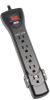 Protect It! 7-Outlet Surge Protector, 7 ft. Cord with Right-Angle Plug, 2160 Joules, Diagnostic LEDs, Black Housing -- SUPER7B