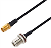 N Female Bulkhead to SMA Female Cable Assembly using LC141TBJ Coax, 3 FT -- LCCA30484-FT3 -Image