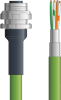 LAPP ETHERLINE® Ethernet Single-Ended Cordset: 4 Pair CAT6A - 8 position female M12 bulkhead connector to Wire Leads - Green Polyurethane (PUR) - C6A011S02 - 2m -- OLFC6A011S02 -Image