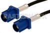Blue FAKRA Plug to FAKRA Plug Cable 60 Inch Length Using PE-C100-LSZH Coax -- PE38747C-60 -Image