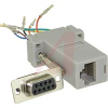 connector,adapter,9 socket cont d-sub to 8 cont rj45 mod jack,1-piece gray hood -- 70081342