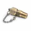 """1/4"""" male BSPT (ISO 7/1) x male Quick-test, no check-valve, with cap and chain, brass -- QTFT-2MB0-RT -- View Larger Image"""