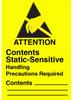 "Label, Yellow/Black 2-1/2"" x 1-3/4""  ""Static Sensitive"" -- 307-7102 -- View Larger Image"