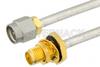 SMA Male to SMA Female Bulkhead Semi-Flexible Precision Cable 6 Inch Length Using PE-SR402FL Coax, LF Solder, RoHS -- PE39427-6 -Image