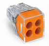 PUSH WIRE® connector for junction boxes; 4-conductor terminal block; transparent housing; orange cover -- 773-164