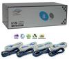 Linkskey 4-Port Dual Monitor KVM Switch w/ Cables -- LKV-DM04SK - Image