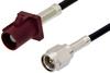 SMA Male to Bordeaux FAKRA Plug Cable 60 Inch Length Using RG174 Coax -- PE39197D-60 -Image