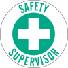 Brady B-946 Green on White Circle Vinyl Hard Hat Label - Printed Text = SAFETY SUPERVISOR - 49564 -- 754476-49564