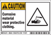 Brady B-302 Black / Yellow on White Polyester Machine & Equipment Safety Label - 5 in Width - 3 1/2 in Height - Printed Text = CAUTION - CORROSIVE MATERIAL WEAR PROTECTIVE CLOTHING. - 86843 -- 754476-86843