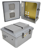 14x12x06 Polycarbonate Weatherproof NEMA 3R Enclosure, 120VAC Mount Plate Vented Lid Dark Gray -- NBPC141206-10V -Image