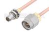 Slide-On BMA Plug Bulkhead to SMA Male Cable 24 Inch Length Using RG405 Coax -- PE3C4881-24 -Image