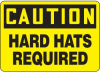 Caution Hard Hats Required Hazard Warning Label -- SGN427