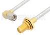 SMA Male Right Angle to SMA Female Bulkhead Cable 24 Inch Length Using PE-SR402FL Coax, RoHS -- PE34299LF-24 -Image