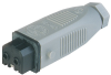 Rectangular Field Attachable Power Connector (ST Series): Female, straight with strain relief , 2-pin+PE, grey housing, 230 V AC/DC, 16 A AC/6 A DC -- STAK 20 - Image