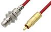 75 Ohm RCA Male to 75 Ohm RCA Female Bulkhead Cable 24 Inch Length Using 75 Ohm PE-B159-RD Red Coax -- PE38135/RD-24 -Image