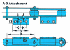 RF Conveyor Chain Basic Metric Series - A-3 (Welded) Attachment -- RF120600 - A-3 (Welded) - Image