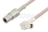 75 Ohm Mini SMB Plug to 75 Ohm Mini SMB Plug Right Angle Cable 12 Inch Length Using 75 Ohm RG179 Coax -- PE34689-12 -Image