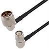 N Male Right Angle to TNC Male Right Angle Cable Assembly using RG58 Coax, 1.5 FT -- LCCA30704-FT1.5 -Image