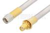 SMA Male to SMA Female Bulkhead Cable 6 Inch Length Using PE-SR401AL Coax , LF Solder -- PE34247LF-6 -Image