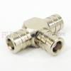 MCX T Adapter Female (Jack)-Female (Jack)-Female (Jack), Nickel Plated Brass Body, High temp, 2 VSWR -- SM2251 - Image