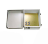 14x12x07 UL Listed Fiberglass Reinf Polyester FRP Weatherproof Outdoor IP66 NEMA 4 Enclosure, 120 VAC, Terminal Block Drilled Mount Gray -- TEF141207-100T-UL -Image
