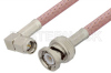 SMA Male Right Angle to BNC Male Cable 18 Inch Length Using RG142 Coax, RoHS -- PE3780LF-18 -Image