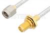 SMA Male to SMA Female Bulkhead Cable 6 Inch Length Using PE-SR402FL Coax, RoHS -- PE3468LF-6 -Image