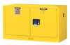 Justrite Sure-Grip EX 17 gal Yellow Hazardous Material Storage Cabinet - 43 in Width - 24 in Height - Wall Mount - 697841-11941 -- 697841-11941