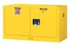 Justrite Sure-Grip EX 17 gal Yellow Hazardous Material Storage Cabinet - 43 in Width - 24 in Height - Wall Mount - 697841-11941 -- 697841-11941