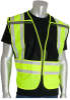 PIP 302-PSV Yellow/Black M/XL Mesh/Solid High-Visibility Vest - 2 Pockets - 616314-07801 -- 616314-07801