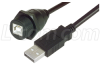 USB Cable, Waterproof Type B Female - Standard Type A Male, 2.0m -- WPUSBBA-2M