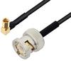 BNC Male to SSMC Plug Right Angle Cable 6 Inch Length Using PE-SR405FLJ Coax -- PE3C4487-6 -Image