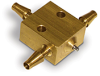 """PurgeX Spray Nozzle, Brass, Barbed Fittings for 1/8"""" ID Tubing, (1) Liquid Inlet, (2) Air Connections -- B2720-1"""