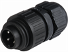 Circular Field Attachable Power Connector (CA Series): Male, straight, 4-pin(3+PE), integrated strain relief, 400 V AC/230 V DC, 16 A AC/10 A DC -- CA 3 LS - Image