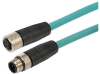 Category 5e M12 4 Position D code Double Shielded Industrial Cable, M12 M / M12 F, 5.0m -- T5A00011-5M -Image