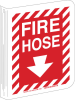 Brady B-450 Polyethylene Red Fire Equipment Sign - 9 in Width x 12 in Height - TEXT: FIRE HOSE - 70999 -- 754476-70999