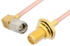 SMA Male Right Angle to SMA Female Bulkhead Cable 60 Inch Length Using RG405 Coax, RoHS -- PE3925LF-60 -- View Larger Image