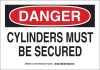 Brady B-401 Polystyrene Rectangle White Chemical, Biohazard, Hazardous & Flammable Material Sign - 10 in Width x 7 in Height - TEXT: DANGER CYLINDERS MUST BE SECURED - 126181 -- 754473-74344