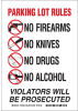 Brady B-555 Aluminum Rectangle White Weapons & Alcohol Sign - 14 in Width x 10 in Height - 132050 -- 754473-83101
