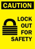 Caution Sign,14 x 10In,BK/YEL,ENG,SURF -- 3BC50