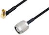 SSMC Plug Right Angle to TNC Male Cable 18 Inch Length Using PE-SR405FLJ Coax -- PE3C4490-18 -Image