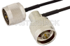 N Male to N Male Right Angle Semi-Flexible Precision Cable 6 Inch Length Using PE-SR405FLJ Coax, LF Solder, RoHS -- PE39459-6 -Image