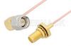 SMA Male Right Angle to SMA Female Bulkhead Cable 48 Inch Length Using PE-047SR Coax, RoHS -- PE34303LF-48 -Image
