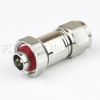 4.1/9.5 Mini DIN Male (Plug) to N Male (Plug) Adapter IP67 Mated, Tri-Metal Plated Brass Body, 1.25 VSWR -- SM4426 - Image