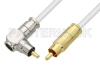 75 Ohm RCA Male to 75 Ohm RCA Male Right Angle Cable 36 Inch Length Using 75 Ohm PE-B159-WH White Coax -- PE38134/WH-36 -Image