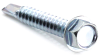 "#10 x 1"" Hex Washer Head Self Drilling Screw (Tek 3), Zinc -- SD3HWH010010Z - Image"