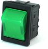 E-Switch Rocker Switch 16A 125VAC DPST Off-On Light Green RBW2ABLKGILEF3 -- 43308 - Image