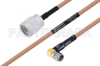 MIL-DTL-17 N Male to SMA Male Right Angle Cable 24 Inch Length Using M17/128-RG400 Coax -- PE3M0071-24 -Image