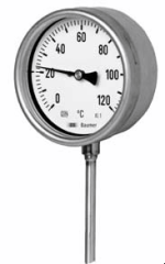 Baumer supplies mechanical temperature measurement instruments filled with gas, suitable for use up to 800°C or with bi-metal strip technology for use up to 600°C.